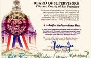San Francisco issues Certificate of Honor on Azerbaijan's Independence Day