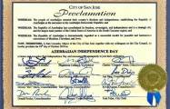 City of San Jose in California proclaims October 18 as 'Azerbaijan Independence Day'
