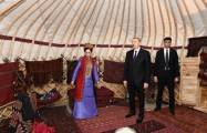 Azerbaijani president views Turkmen national carpet museum- UPDATED