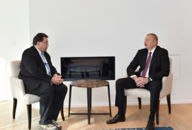 President Ilham Aliyev meets with Montreux mayor in Davos