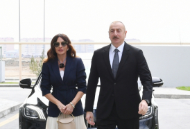 Azerbaijani president, first lady attend opening of