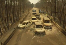 Portugal forest fire: Drone footage shows burnt-out cars - VIDEO